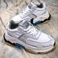 18SS Balenciaga Triple-S Retro Sneaker Silver White Blue Shoes - Best Online Sale