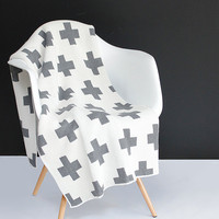 Cotton Knit Throw Blanket - 80% Recycled Cotton Fibers - Grey and Ivory Swiss Cross