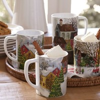 WINTER VILLAGE MUGS, SET OF 4, BENEFITING GIVE A LITTLE HOPE CAMPAIGN