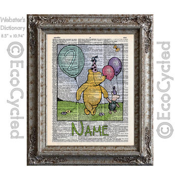 Winnie the Pooh Personalized Birthday Celebration Piglet on Vintage Upcycled Dictionary Art Print Book Art Print Custom Pooh Nursery Art