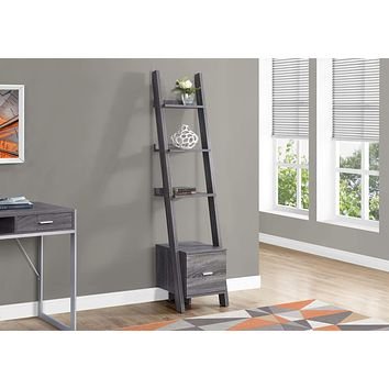 """Modern Bookshelf - 69"""" Grey Particle Board Ladder Bookcase with a Storage Drawer"""