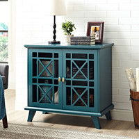 "Fretwork 32"" Blue Accent Cabinet"