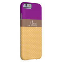 Chic Monogram Color Block Purple Yellow Polka Dots Barely There iPhone 6 Case