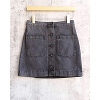 Free People - Don't Get Me Wrong Button Front Rigid Denim Skirt - Rocky Mountain Black
