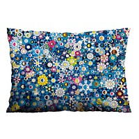 MURAKAMI BLUE FLOWERS Pillow Case Cover Recta