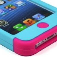 BasTexWireless Bastex Hybrid Case for Apple Iphone 5 5g - Hot Pink Silicone / Teal Mint Blue Hard Snap on Cover
