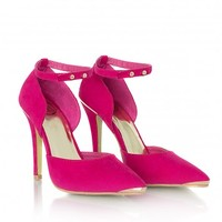 Missguided - Raquelita Gold Detail Suede High Heels In Hot Pink