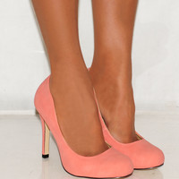 Ladies Coral Pink Faux Suede Mid Heel Court Shoes Platforms High Heels Sizes 3-8