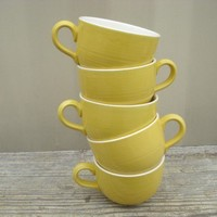Sunny Delight Coffee Cups Yellow Retro Set of by AntoinettesWhims
