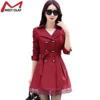 2017 Women Trench Coat Lace Slim Double-Breasted Trenchcoat Especially Female Casual Windbreaker Outwear Raincoat Plus Size Y015