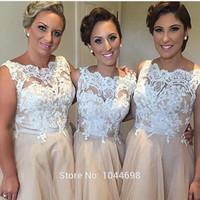 Champagne Bridesmaid Dresses White Applique Sexy High Neck Ankle-Length Bridesmaid Dresses Fast Shipping