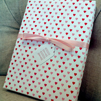 Red and Pink Heart Patterned Wrapping Paper for Small Gift