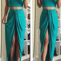 Teal Knotty Two-Piece Dress