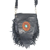 Small Leather Bag with Stone