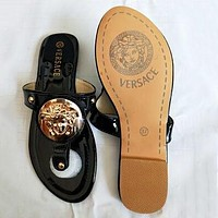 Versace Summer Popular Women Casual Flat Sandal Slippers Shoes Black