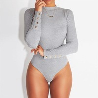 Polyester Long Sleeve Bodycon Romper Jumpsuit Bodysuit