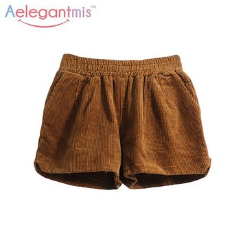 Aelegantmis Spring Brown Casual Corduroy Shorts Women Elastic High Waist Loose Shorts Female 2017