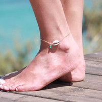 Gold Anklet - Gold Ankle Bracelet - Shell Anklet - Foot Jewelry - Foot Bracelet - Chain Anklet - Summer Jewelry - Beach Jewelry