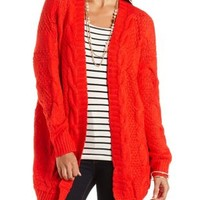 Oversized Cable Knit Cardigan Sweater by Charlotte Russe - Red