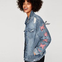 DENIM JACKET WITH BOWS