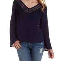 Navy Crochet Trim Cut-Out Top by Charlotte Russe