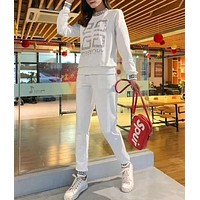 Woman Leisure Fashion Letter Printing Hedging Crew Neck Long Sleeve Tops Trousers Two-Piece Set Casual Wear Sportswear