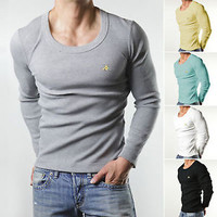 5 Colors Sexy Mens Slim Fit Tops Long Sleeve Round Neck Warm Underwear T-shirts