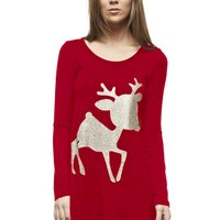 Glitter Rudolf the Reindeer Tunic Top - Red