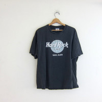 Vintage Hard Rock Cafe Tshirt. San Juan novelty shirt. washed out faded black tee shirt