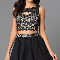 Two Piece Homecoming Dress 7530377 with Lace Bodice by Masquerade