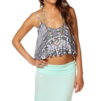 BlackWhite Tribal Shirt Tail Crop Top