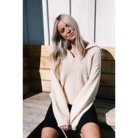 Kent Collared Sweater, Ivory