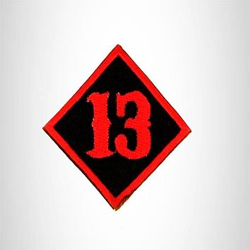 Small Patch 13 Diamond Red on black Iron on for Biker Vest SB823