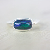 Black Opal Ring Sterling Silver Natural Ethiopian Welo Opal Ring Size 7-7,5 Silversmithed October Birthstone Ring