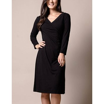 Bamboo Wrap Dress - Black