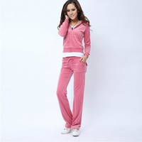 Juicy Couture Pure Color Velour Tracksuit 6047 2pcs Women Suits Red-2