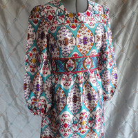 "ON SALE 60s Dress //  Vintage 1960's Paisley Heavy Satin Dress by Mindy Malone Size S M 28"" waist long sleeves"