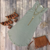 Let's Have Some Fun Striped Tank Dress: Olive