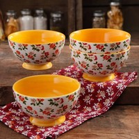 "The Pioneer Woman Fall Flowers 6"" Footed Bowl, 4-Pack - Walmart.com"