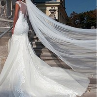 [169.99] Elegant Lace & Tulle Mermaid Wedding Dress With Lace Appliques - Dressilyme.com