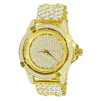 BLING MASTER CZ WATCH BAND WITH FULLY ICED OUT DIAL