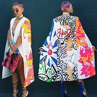 2017 Stylish Blazers And Jackets 2016 Vintage Printing Long Coats Suit Ol Jacket White Cloak Cape Blazer Woman Coat Plus Size