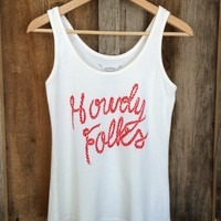 Howdy Folks Ribbed Tank White/Red | Bandit Brand General Store