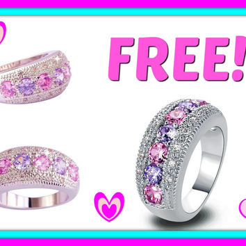 """FREE 2016 """"Diamond Dream™ Exclusive Pink & White Sapphire Silver Ring"""" - Just Pay Shipping"""