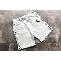 Jordan New fashion embroidery letter people couple shorts Gray