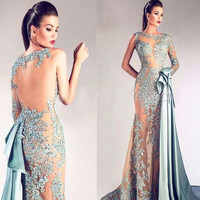 Long Evening Dress 2017 Mermaid Women Formal Gowns Dubai Floor Length Oman Beaded Lace Arabic Style Evening Dresses