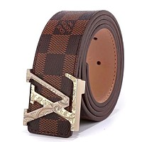 Louis Vuitton LV tide brand men and women pattern letter head smooth buckle belt Coffee check