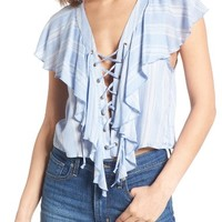 Show Me Your Mumu Lace-Up Blouse | Nordstrom