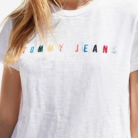Tommy Jeans Rainbow Logo Tee | Urban Outfitters