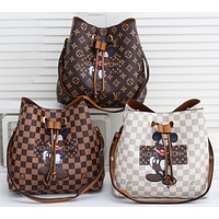 Louis Vuitton x Disney Fashionable Mickey Letters Printed Tie-String Pocket Ladies Shoulder Messenger Bag